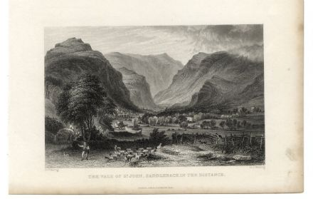 1835 Antique Print BLENCATHRA St Johns in the Vale SADDLEBACK Lake District